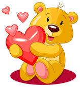 Bear holds red heart — Stock Vector