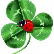 Three leafed clover and ladybug — Stock Vector #63371497