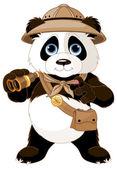Panda safari explorer with binoculars — Stock Vector