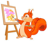 Squirrel paints picture — Wektor stockowy