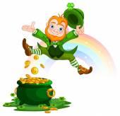 Joyful jumping leprechaun — Stock Vector