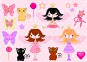 Set of princess girls, cats and objects — Vector de stock