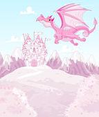 Prenses kale arka plan üzerinde sihirli ejderha — Stok Vektör