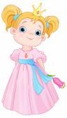 Little Princess Holds Flower — Stock Vector