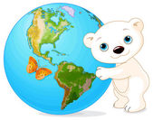 Polar Bear hugs the Earth — Stock Vector