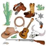 Vintage cowboy western objects set — Stock Vector #72819327
