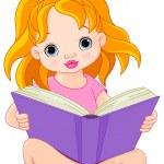 Little girl reading a book — Stock Vector #72819407