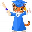 Cute tiger graduates — Stock Vector #72819443