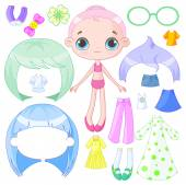 Cute dress up doll — Stock Vector