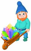 Gnome carries a wheelbarrow with crystals — Stock Vector
