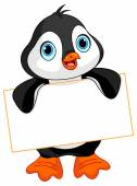 Penguin holds a sign — Stock Vector