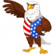 American eagle wearing American flag vest — Stock Vector #74528537