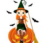 Halloween witch sitting on pumpkin — Stock Vector #78409162