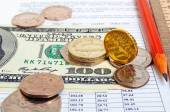 Pound against the dollar and the euro, cross-rate. — Stock Photo