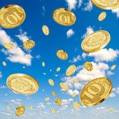 Rubles in the sky. — Stock Photo