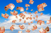 Rubles fall from the sky. — Stock Photo