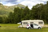 Trailer parking along the mountain road to the fjords — Stock Photo