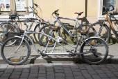 Retro tandem bicycle — Stock Photo