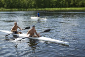 Sporting competitions on kayaks and canoe — Stock Photo