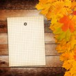 Old grunge paper with autumn maple branch leaves on the wooden b — Stock Photo #52811059