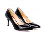 Beautiful black classic women shoes isolated on white background — Stock Photo