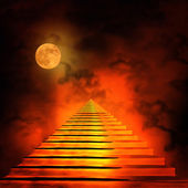 Staircase leading to heaven or hell. Light at the End of the Tun — Stock Photo
