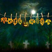 Funny halloween pumpkin, hanging on a rope with colorful autumn  — Stock Photo
