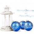 Blue Christmas balls and vintage lantern isolated on white backg — Stock Photo #53021143
