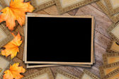 Grunge paper design in scrapbooking style with photoframe and au — Stock Photo