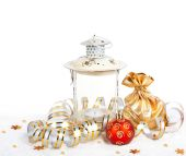 Red christmas ball, golden bag with gifts and the old vintage la — Stock Photo