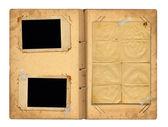 Open vintage photoalbum for photos on white isolated background — Stock Photo