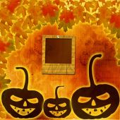 Festive pumpkin Halloween Day on the abstract paper background w — Stock Photo