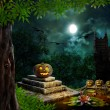 Halloween pumpkins in yard of old house night in bright moonligh — Stock Photo #53679715