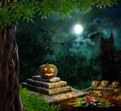 Halloween pumpkins in yard of old house night in bright moonligh — Stock Photo