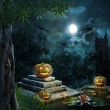 Halloween pumpkins in yard of old house night in bright moonligh — Stock Photo #53734745