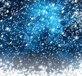 Fiocchi di neve belle su sfondo astratto con effetto bokeh — Foto Stock