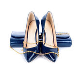 Beautiful blue shoes with clutches on white isolated background — Foto de Stock