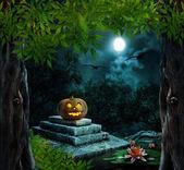 Pumpkin Halloween on old stone grave in the night sky — Stock Photo