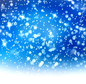 Christmas snowy background with blue and white stars — Stock Photo