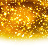 Christmas snowy background with gold and white stars — Stock Photo