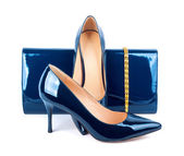 Beautiful blue shoes with clutches on white isolated background — Stockfoto