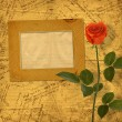 Vintage aged background, with old Postcard, envelopes, frames an — Stock Photo #54249575
