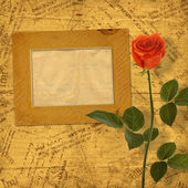 Vintage aged background, with old Postcard, envelopes, frames an — ストック写真