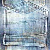 Old jeans background with hole in the style scrapbook — Photo