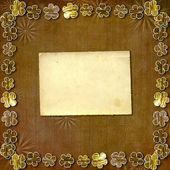 切纸黄金花上抽象的棕色背景 — 图库照片