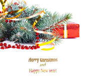 Christmas tree branch with gift in red box on white background i — Stok fotoğraf