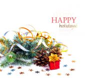 Christmas tree branch with gift in red box on white background i — Stockfoto