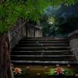 Old stone staircase in celebration of Halloween on background of — Stock Photo #55533555