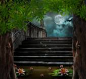 Old stone staircase in celebration of Halloween on background of — Stockfoto