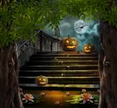 Halloween pumpkins in yard of of old stone staircase night in br — Stock Photo